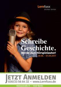 """Kind Mikrofon. """"Schreibe Geschichte. Werde Hörspielautor! 13.08. - 17.08.2018. Lernfuxx. Jetzt anmelden 030/23 56 64 32"""""""